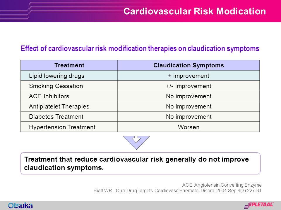 Cardiovascular Risk Modication Effect of cardiovascular risk modification therapies on claudication symptoms TreatmentClaudication Symptoms Lipid lowe