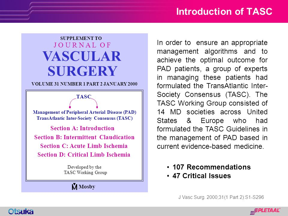 Introduction of TASC Number 1, Part 2:S93 VASCULAR Management of Peripheral Arterial Disease (PAD) TransAtlantic Inter-Society Consensus (TASC) TASC S