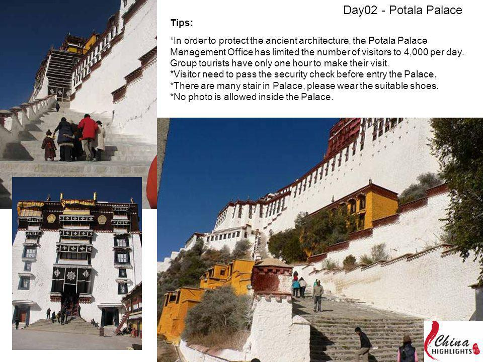 Tips: *In order to protect the ancient architecture, the Potala Palace Management Office has limited the number of visitors to 4,000 per day.