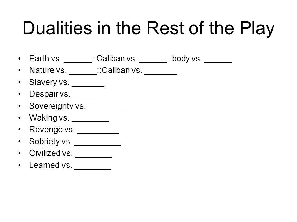 Dualities in the Rest of the Play Earth vs. ______::Caliban vs.