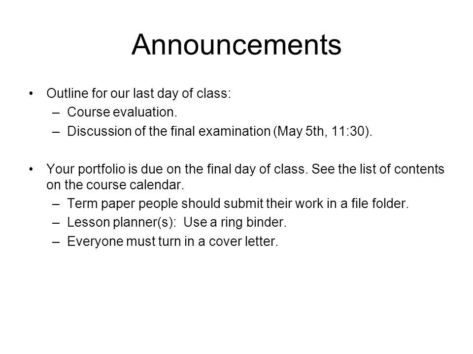 Next Assignment Portfolio: See course calendar for contents.