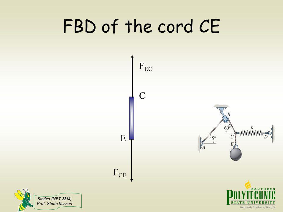 Statics (MET 2214) Prof. Simin Nasseri FBD of the cord CE F CE F EC C E