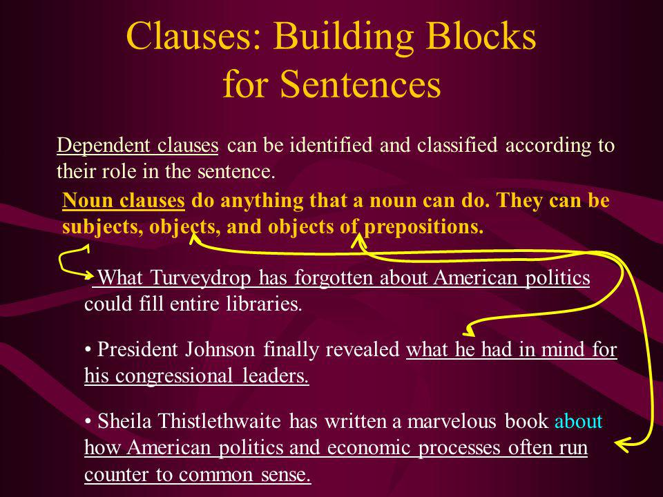 Clauses: Building Blocks for Sentences Independent clauses can be connected in a variety of ways: 1. By a comma and little conjunction (and, but, or,
