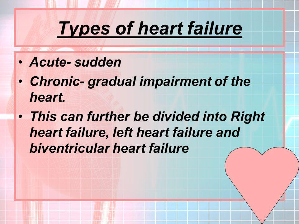 Types of heart failure Acute- sudden Chronic- gradual impairment of the heart.