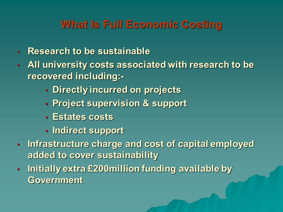 What Is Full Economic Costing Research to be sustainable Research to be sustainable All university costs associated with research to be recovered including:- All university costs associated with research to be recovered including:- Directly incurred on projects Directly incurred on projects Project supervision & support Project supervision & support Estates costs Estates costs Indirect support Indirect support Infrastructure charge and cost of capital employed added to cover sustainability Infrastructure charge and cost of capital employed added to cover sustainability Initially extra £200million funding available by Government Initially extra £200million funding available by Government