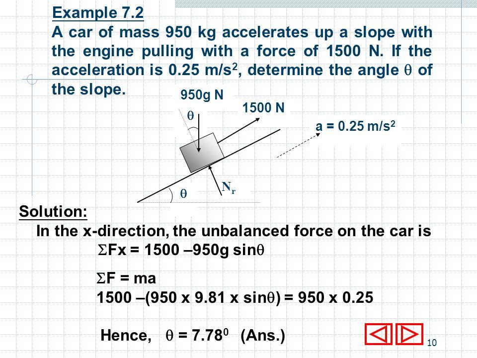 9 iii) Along the x-direction, Fx = 10 - 10 cos60 = 5 N F = ma 5 = 5 x a a = 1 m/s 2 Fy = 0, (no motion upwards) N r - 5g – 10sin 60 = 0 N r = 57.71 N NrNr 60 5g 10 a