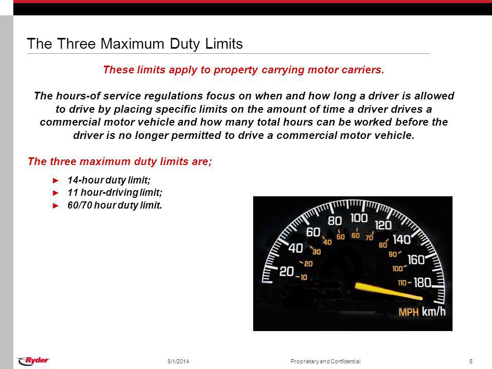 6/1/2014Proprietary and Confidential6 The 60/70 Hour Duty Limit Rule This limit is based on a 7-day or 8-day period, starting at the time specified by the motor carrier for the start of a 24-hour period.