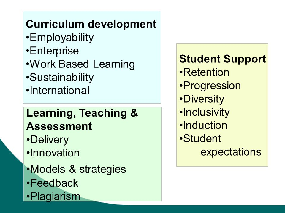 Curriculum development Employability Enterprise Work Based Learning Sustainability International Student Support Retention Progression Diversity Inclusivity Induction Student expectations Learning, Teaching & Assessment Delivery Innovation Models & strategies Feedback Plagiarism