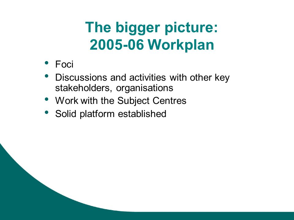 The bigger picture: 2005-06 Workplan Foci Discussions and activities with other key stakeholders, organisations Work with the Subject Centres Solid platform established