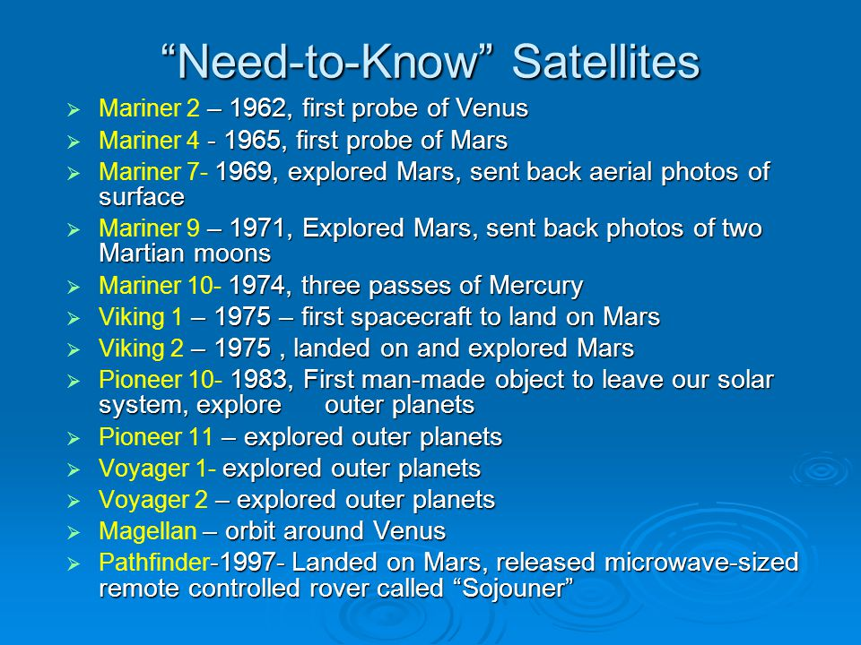Need-to-Know Satellites – 1962, first probe of Venus Mariner 2 – 1962, first probe of Venus - 1965, first probe of Mars Mariner 4 - 1965, first probe of Mars 1969, explored Mars, sent back aerial photos of surface Mariner 7- 1969, explored Mars, sent back aerial photos of surface – 1971, Explored Mars, sent back photos of two Martian moons Mariner 9 – 1971, Explored Mars, sent back photos of two Martian moons 1974, three passes of Mercury Mariner 10- 1974, three passes of Mercury – 1975 – first spacecraft to land on Mars Viking 1 – 1975 – first spacecraft to land on Mars – 1975, landed on and explored Mars Viking 2 – 1975, landed on and explored Mars 1983, First man-made object to leave our solar system, explore outer planets Pioneer 10- 1983, First man-made object to leave our solar system, explore outer planets – explored outer planets Pioneer 11 – explored outer planets explored outer planets Voyager 1- explored outer planets – explored outer planets Voyager 2 – explored outer planets – orbit around Venus Magellan – orbit around Venus -1997- Landed on Mars, released microwave-sized remote controlled rover called Sojouner Pathfinder -1997- Landed on Mars, released microwave-sized remote controlled rover called Sojouner