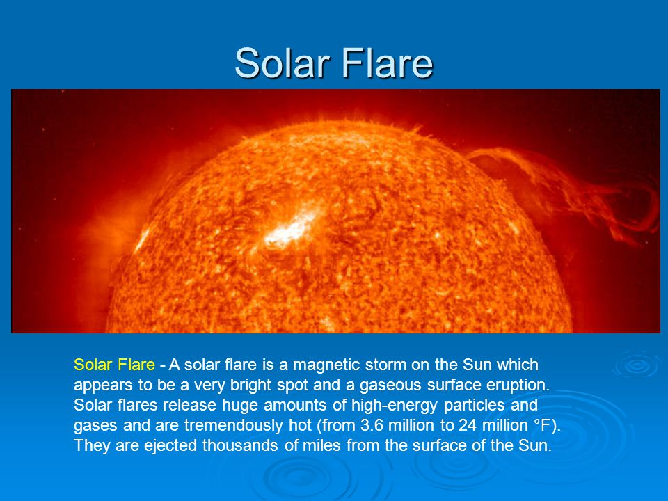 Solar Flare Solar Flare - A solar flare is a magnetic storm on the Sun which appears to be a very bright spot and a gaseous surface eruption.