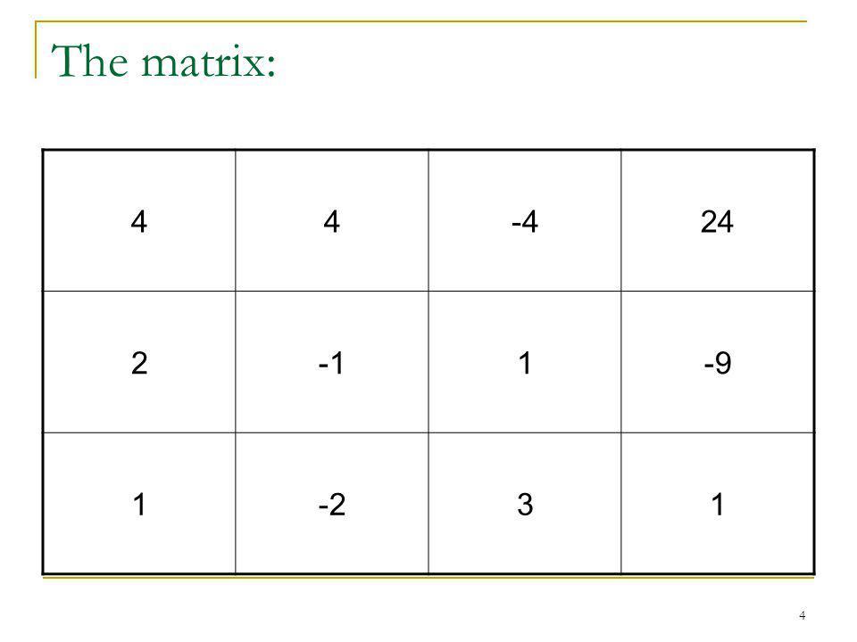 4 The matrix: 44-424 21-9 1-231