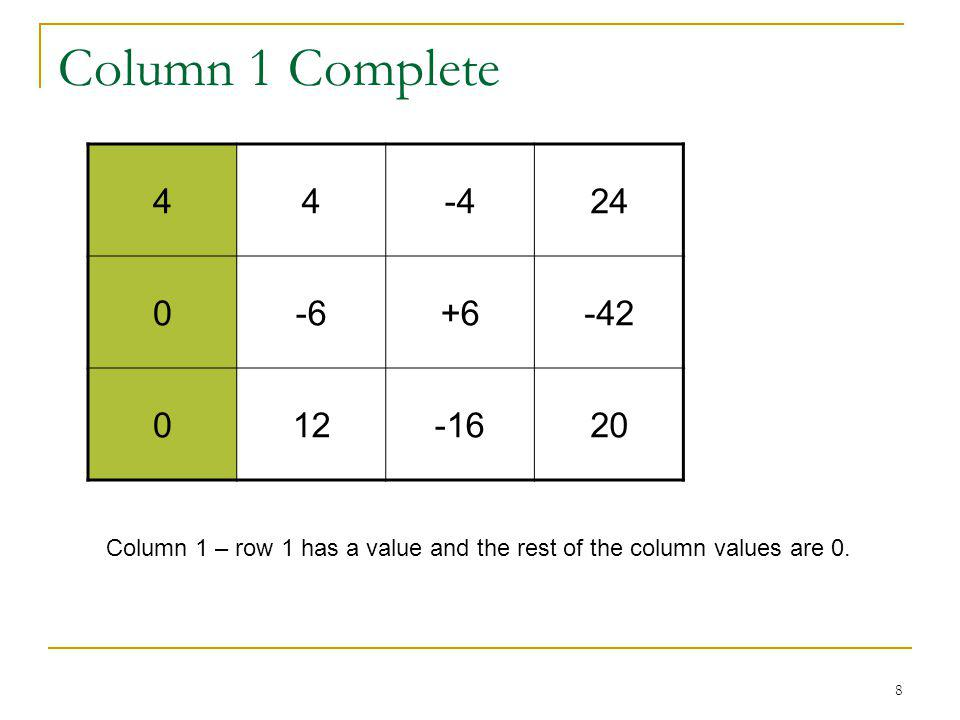 8 Column 1 Complete 44-424 0-6+6-42 012-1620 Column 1 – row 1 has a value and the rest of the column values are 0.