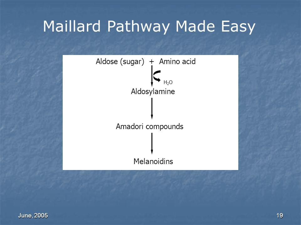June, 200519 Maillard Pathway Made Easy Aldose (sugar) + Amino acid H2OH2O Aldosylamine Amadori compounds Melanoidins