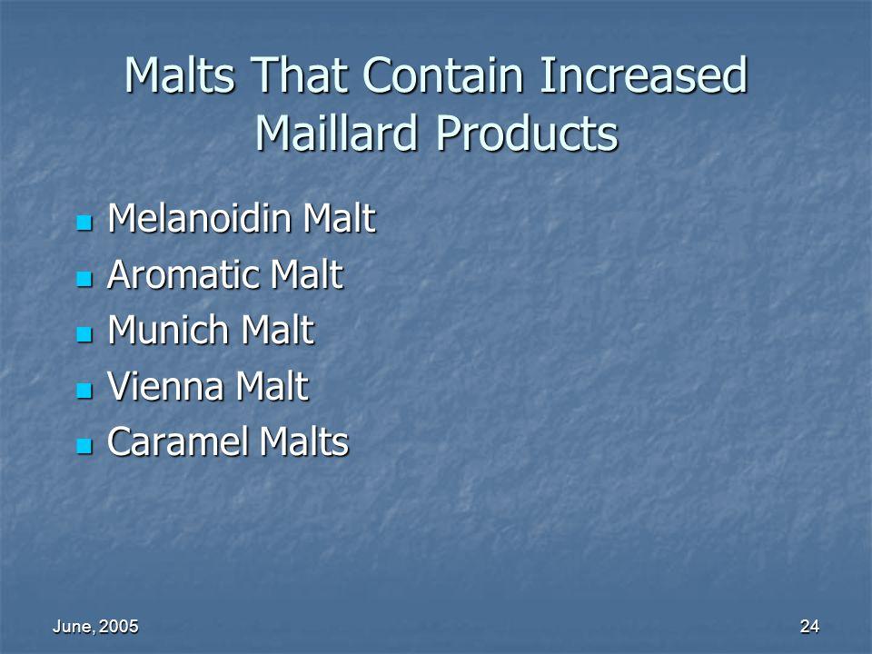 June, 200524 Malts That Contain Increased Maillard Products Melanoidin Malt Melanoidin Malt Aromatic Malt Aromatic Malt Munich Malt Munich Malt Vienna