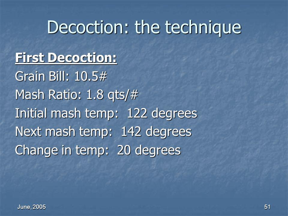 June, 200551 Decoction: the technique First Decoction: Grain Bill: 10.5# Mash Ratio: 1.8 qts/# Initial mash temp: 122 degrees Next mash temp: 142 degr