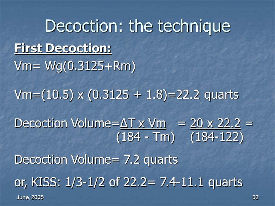 June, 200552 Decoction: the technique First Decoction: Vm= Wg(0.3125+Rm) Vm=(10.5) x (0.3125 + 1.8)=22.2 quarts Decoction Volume=T x Vm = 20 x 22.2 =