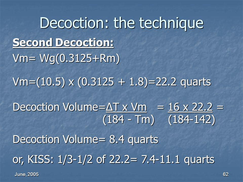 June, 200562 Decoction: the technique Second Decoction: Vm= Wg(0.3125+Rm) Vm=(10.5) x (0.3125 + 1.8)=22.2 quarts Decoction Volume=T x Vm = 16 x 22.2 =