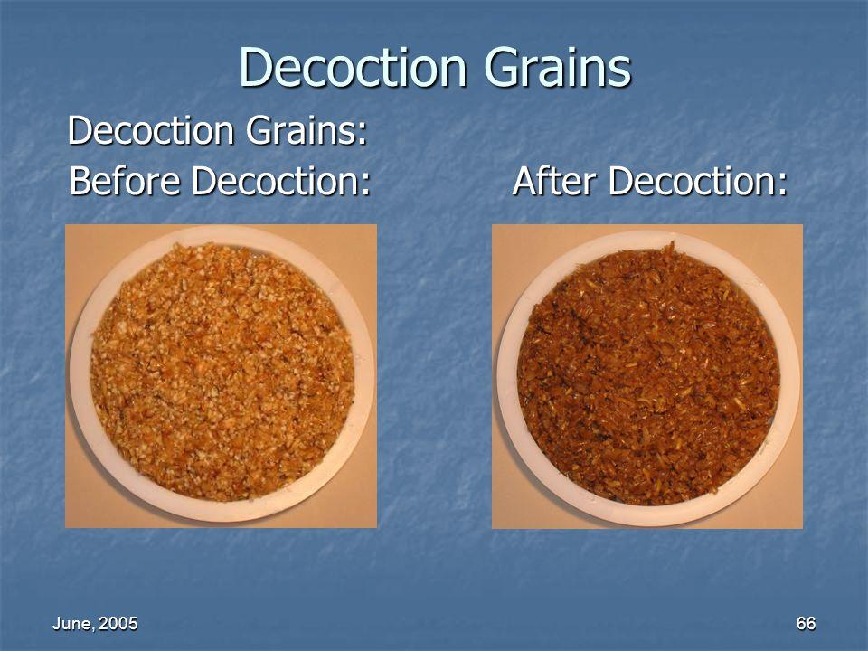 June, 200566 Decoction Grains Decoction Grains: Before Decoction: After Decoction: