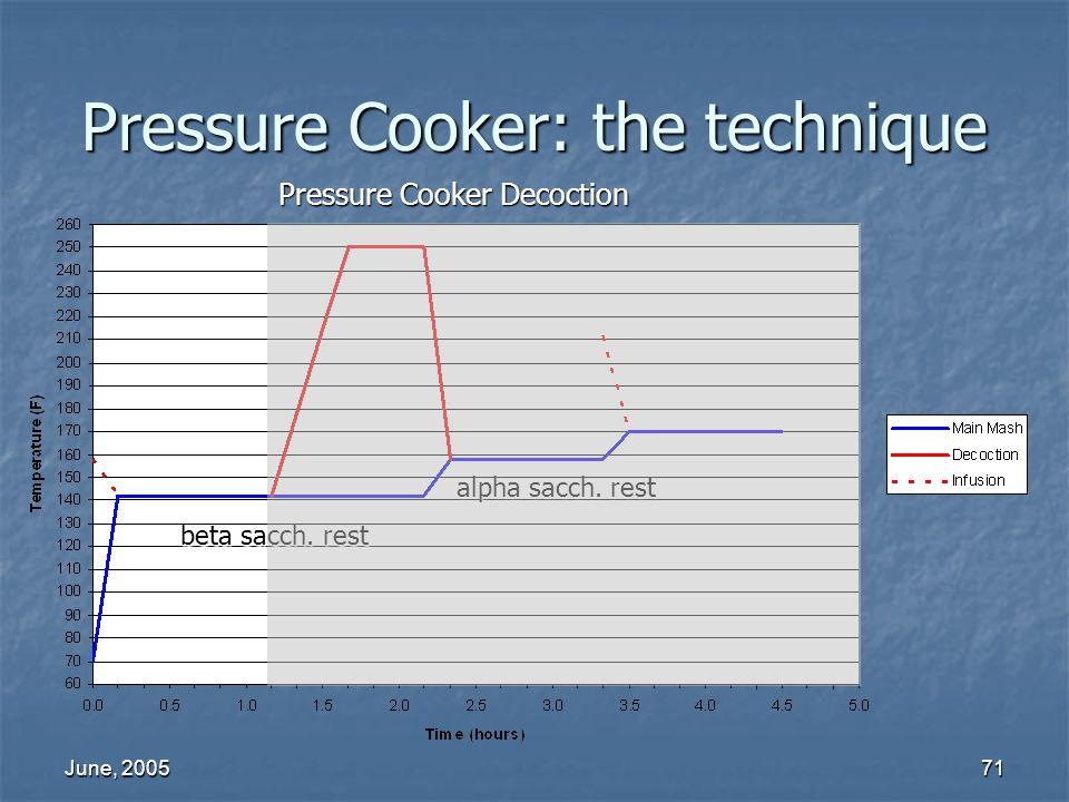 June, 200571 Pressure Cooker: the technique Pressure Cooker Decoction alpha sacch. rest beta sacch. rest