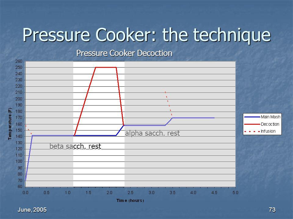 June, 200573 Pressure Cooker: the technique Pressure Cooker Decoction alpha sacch. rest beta sacch. rest