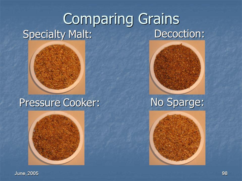 June, 200598 Comparing Grains Decoction: Specialty Malt: Pressure Cooker: No Sparge: