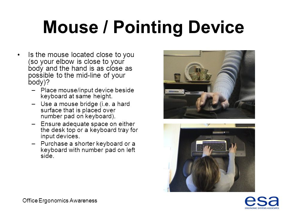 Office Ergonomics Awareness Mouse / Pointing Device Is the mouse located close to you (so your elbow is close to your body and the hand is as close as