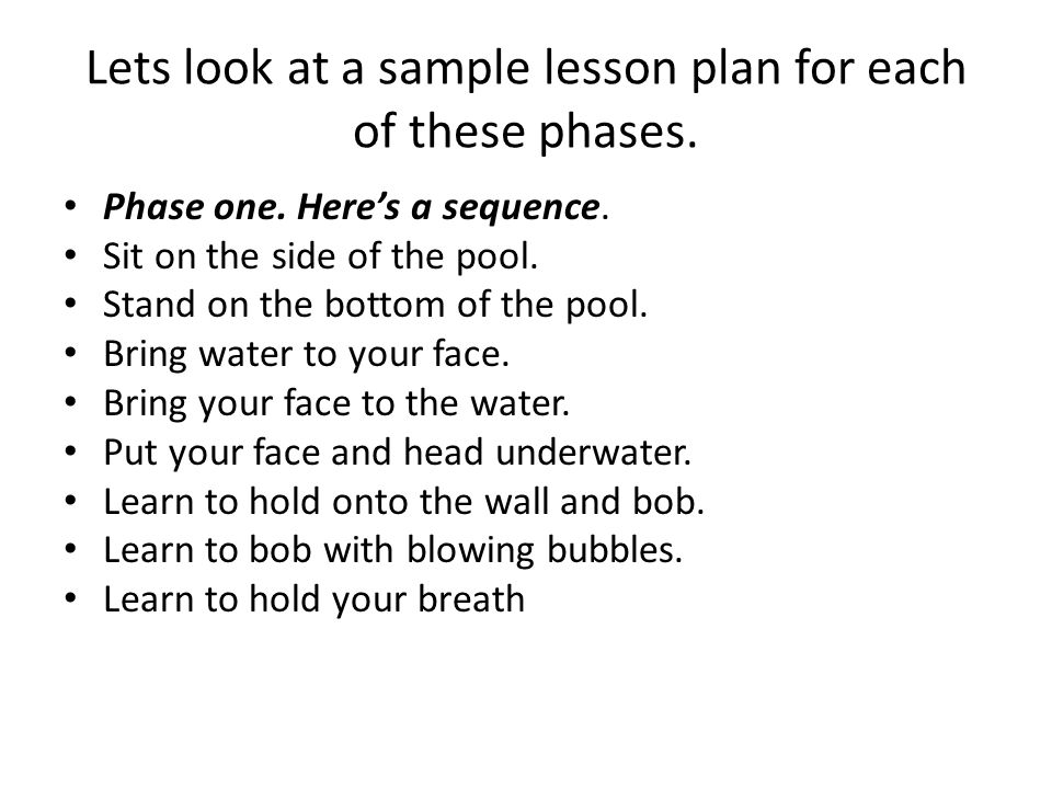 Lets look at a sample lesson plan for each of these phases.
