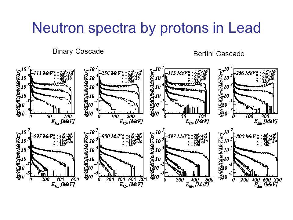 Neutron spectra by protons in Lead Binary Cascade Bertini Cascade