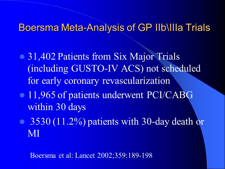 Boersma Meta-Analysis of GP IIb\IIIa Trials 31,402 Patients from Six Major Trials (including GUSTO-IV ACS) not scheduled for early coronary revascular