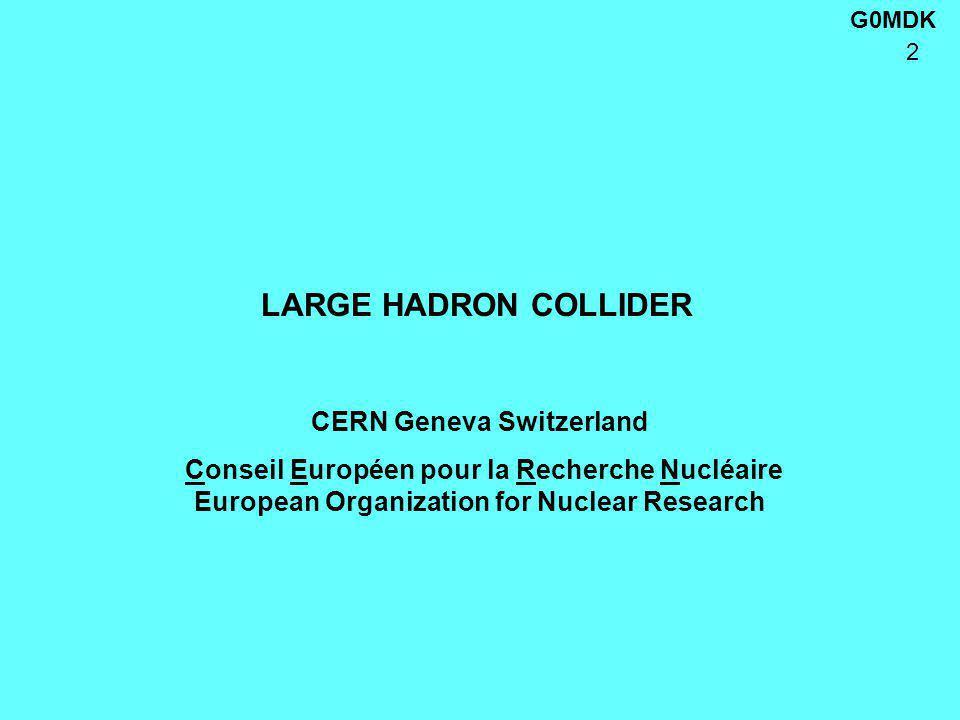 G0MDK 2 LARGE HADRON COLLIDER CERN Geneva Switzerland Conseil Européen pour la Recherche Nucléaire European Organization for Nuclear Research