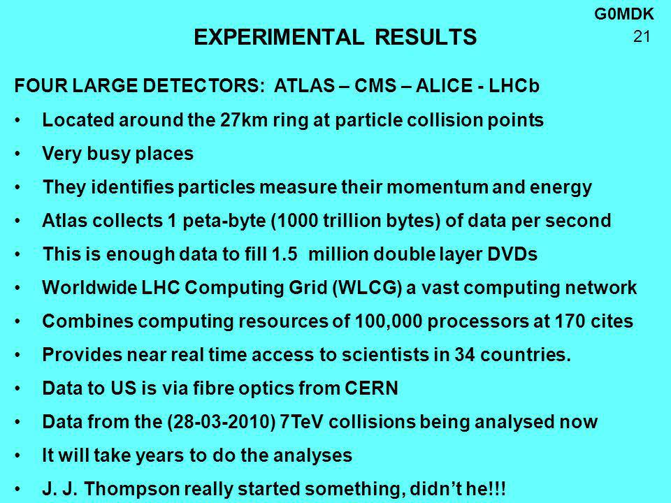 G0MDK 21 EXPERIMENTAL RESULTS FOUR LARGE DETECTORS: ATLAS – CMS – ALICE - LHCb Located around the 27km ring at particle collision points Very busy places They identifies particles measure their momentum and energy Atlas collects 1 peta-byte (1000 trillion bytes) of data per second This is enough data to fill 1.5 million double layer DVDs Worldwide LHC Computing Grid (WLCG) a vast computing network Combines computing resources of 100,000 processors at 170 cites Provides near real time access to scientists in 34 countries.