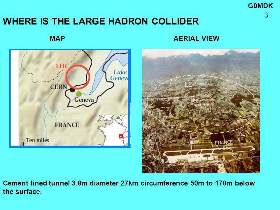 G0MDK 3 WHERE IS THE LARGE HADRON COLLIDER MAP AERIAL VIEW Cement lined tunnel 3.8m diameter 27km circumference 50m to 170m below the surface.