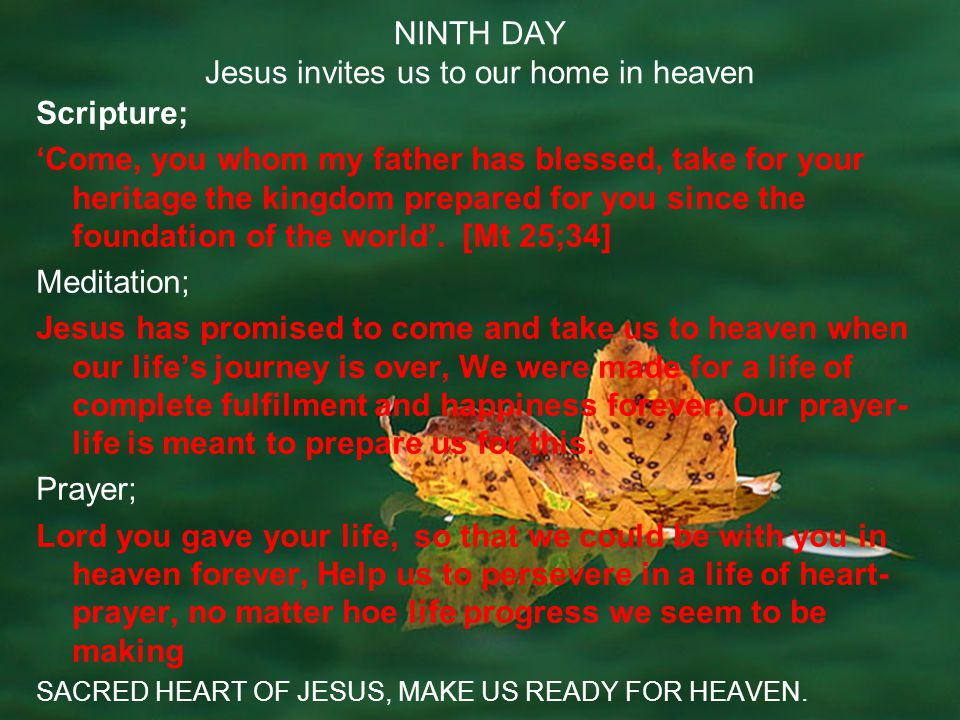 NINTH DAY Jesus invites us to our home in heaven Scripture; Come, you whom my father has blessed, take for your heritage the kingdom prepared for you