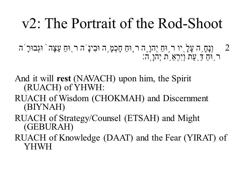 v2: The Portrait of the Rod-Shoot 2 וְנָחָ ֥ ה עָלָ ֖ יו ר ֣ וּחַ יְהוָ ֑ ה ר ֧ וּחַ חָכְמָ ֣ ה וּבִינָ ֗ ה ר ֤ וּחַ עֵצָה ֙ וּגְבוּרָ ֔ ה ר ֥ וּחַ דַּ ֖ עַת וְיִרְאַ ֥ ת יְהוָֽה׃ And it will rest (NAVACH) upon him, the Spirit (RUACH) of YHWH: RUACH of Wisdom (CHOKMAH) and Discernment (BIYNAH) RUACH of Strategy/Counsel (ETSAH) and Might (GEBURAH) RUACH of Knowledge (DAAT) and the Fear (YIRAT) of YHWH