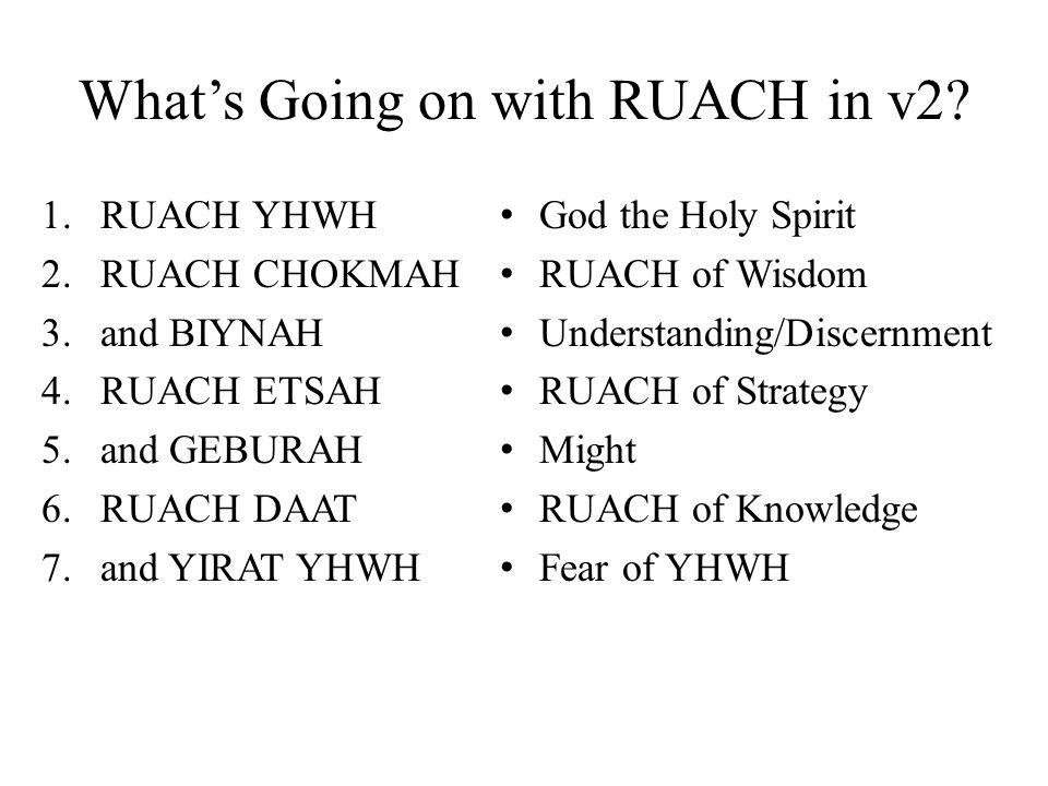 Whats Going on with RUACH in v2? 1. RUACH YHWH 2. RUACH CHOKMAH 3.and BIYNAH 4.RUACH ETSAH 5.and GEBURAH 6.RUACH DAAT 7.and YIRAT YHWH God the Holy Sp