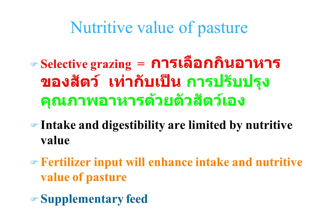 Nutritive value of pasture Selective grazing = F Intake and digestibility are limited by nutritive value F Fertilizer input will enhance intake and nutritive value of pasture F Supplementary feed