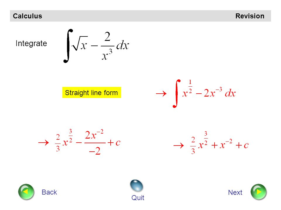 Calculus Revision Back Next Quit Find Integrate term by term