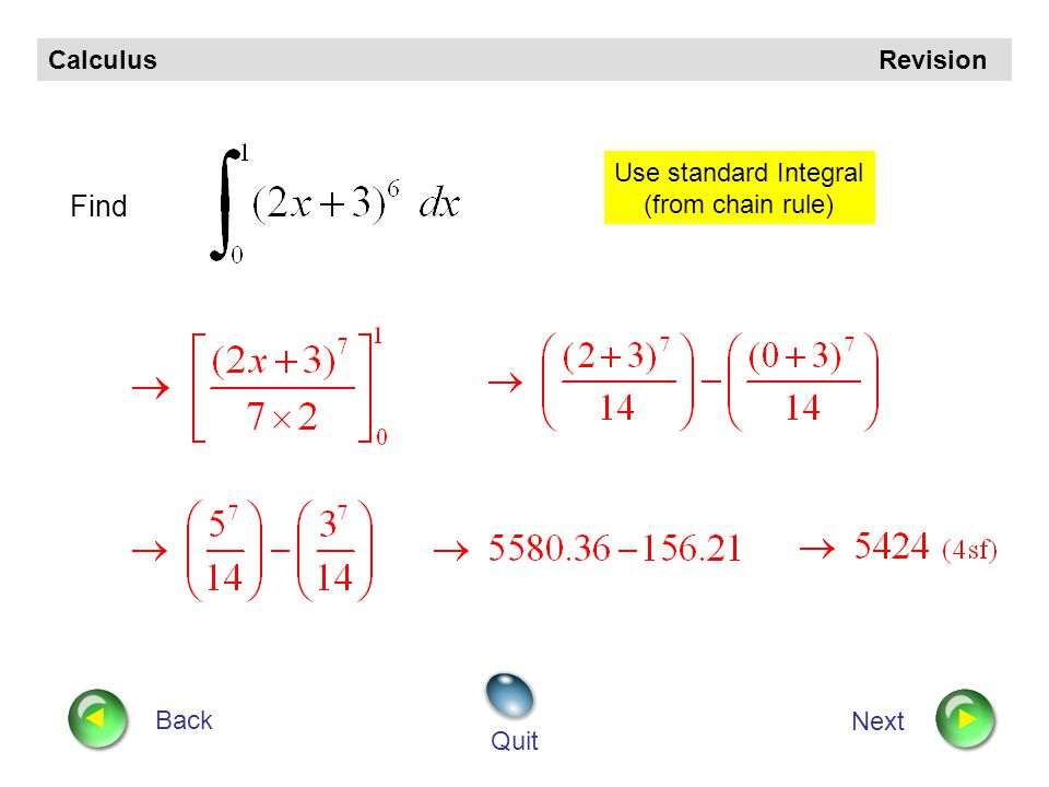 Calculus Revision Back Next Quit Evaluate Straight line form