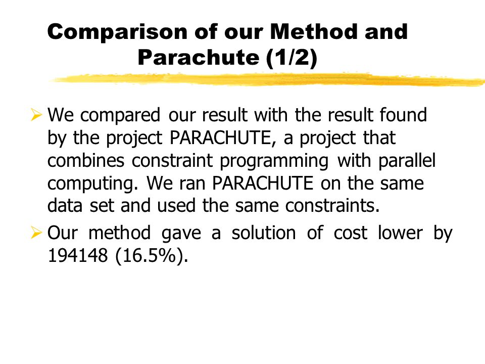 Comparison of our Method and Parachute (1/2) We compared our result with the result found by the project PARACHUTE, a project that combines constraint programming with parallel computing.