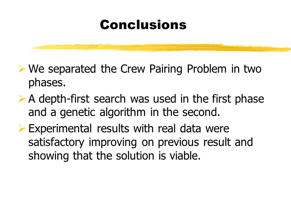 We separated the Crew Pairing Problem in two phases.