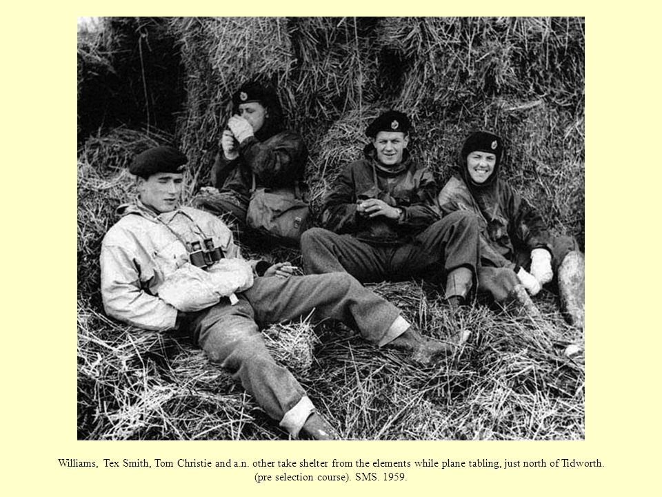 Williams, Tex Smith, Tom Christie and a.n. other take shelter from the elements while plane tabling, just north of Tidworth. (pre selection course). S