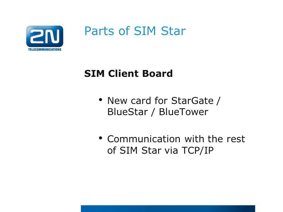 Parts of SIM Star SIM Client Board New card for StarGate / BlueStar / BlueTower Communication with the rest of SIM Star via TCP/IP