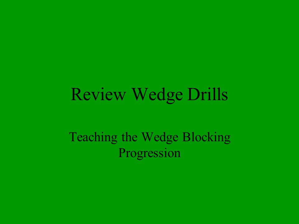 Review Wedge Drills Teaching the Wedge Blocking Progression
