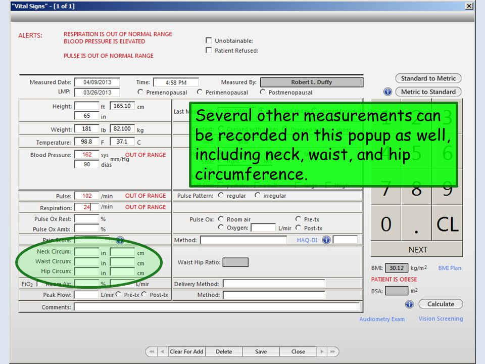 Several other measurements can be recorded on this popup as well, including neck, waist, and hip circumference.
