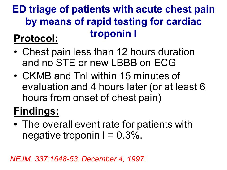 ED triage of patients with acute chest pain by means of rapid testing for cardiac troponin I Protocol: Chest pain less than 12 hours duration and no S