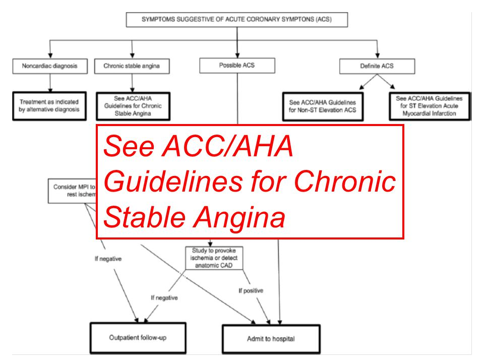 See ACC/AHA Guidelines for Chronic Stable Angina