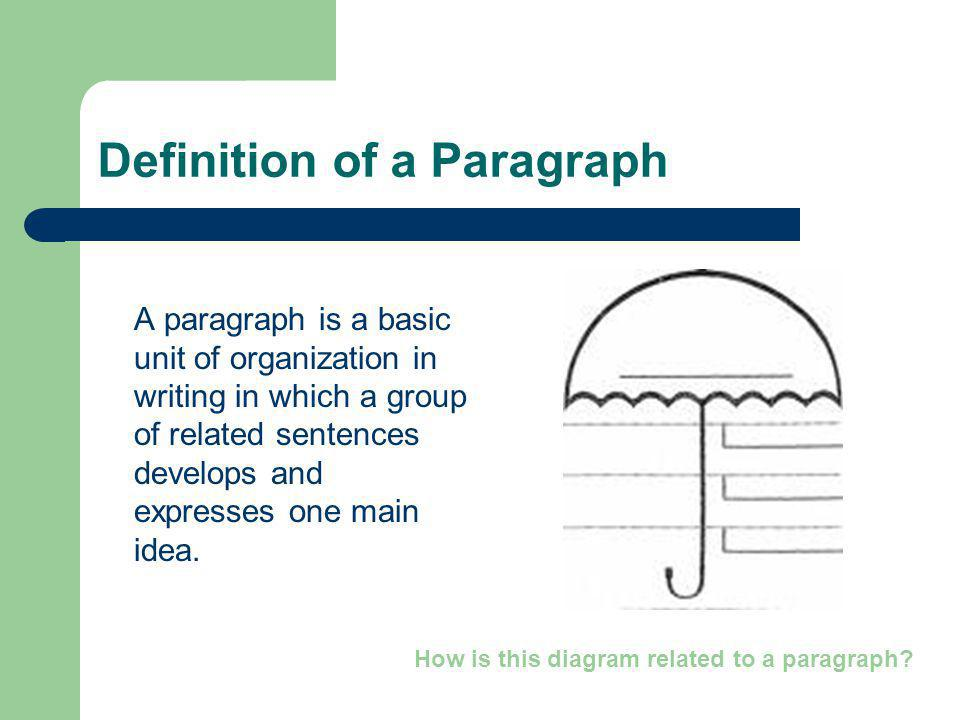 Definition of a Paragraph A paragraph is a basic unit of organization in writing in which a group of related sentences develops and expresses one main