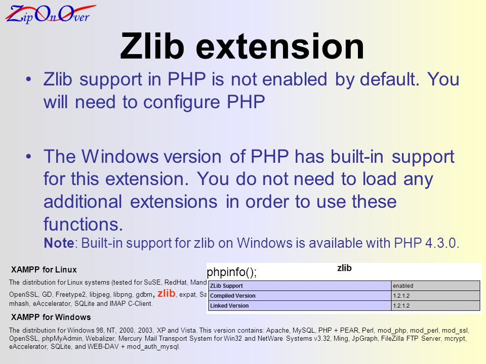 Zlib extension Zlib support in PHP is not enabled by default.
