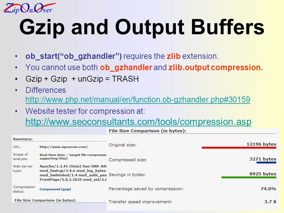 Gzip and Output Buffers ob_start(ob_gzhandler) requires the zlib extension. You cannot use both ob_gzhandler and zlib.output compression. Gzip + Gzip